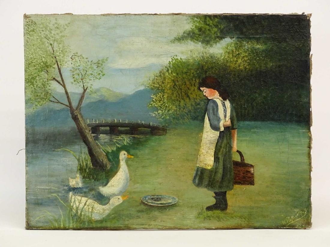 American School, Little Girl With Ducks