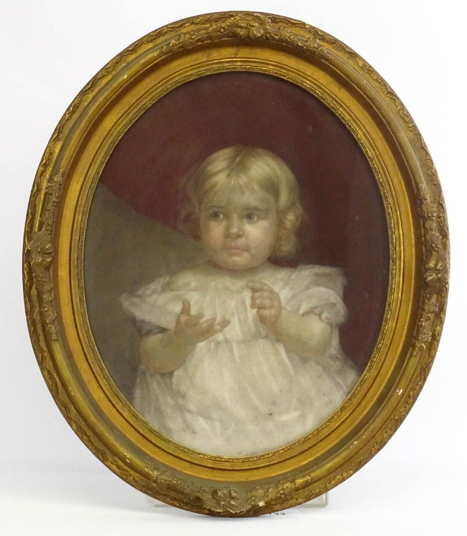 19th c. Pastel, Portrait Of Child