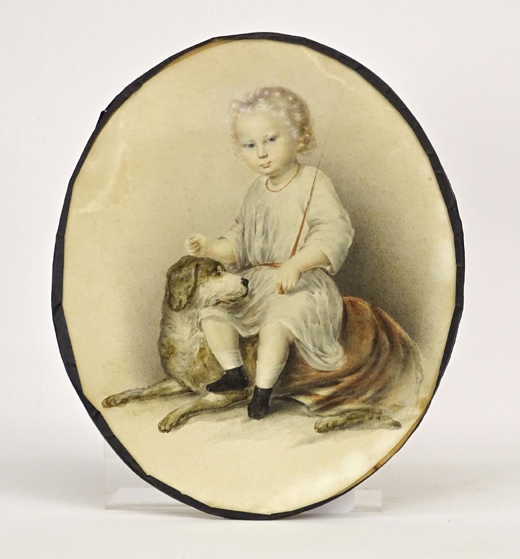 19th c. Portrait Of Boy With Dog