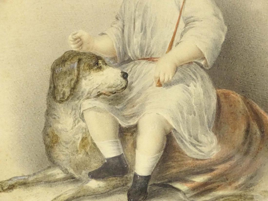 19th c. Portrait Of Boy With Dog - 4
