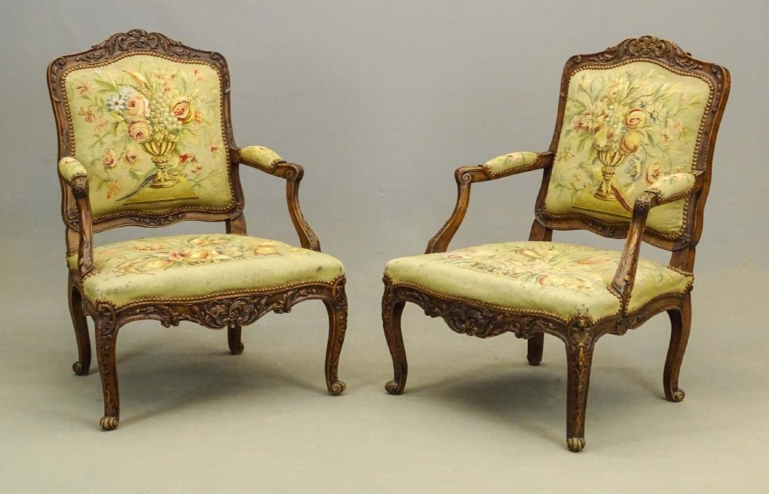 Pair French Needlepoint Chairs