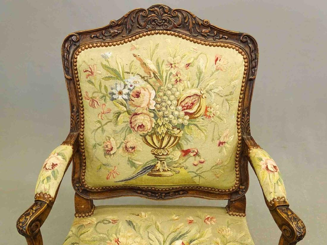 Pair French Needlepoint Chairs - 2