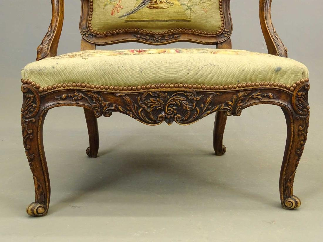 Pair French Needlepoint Chairs - 4