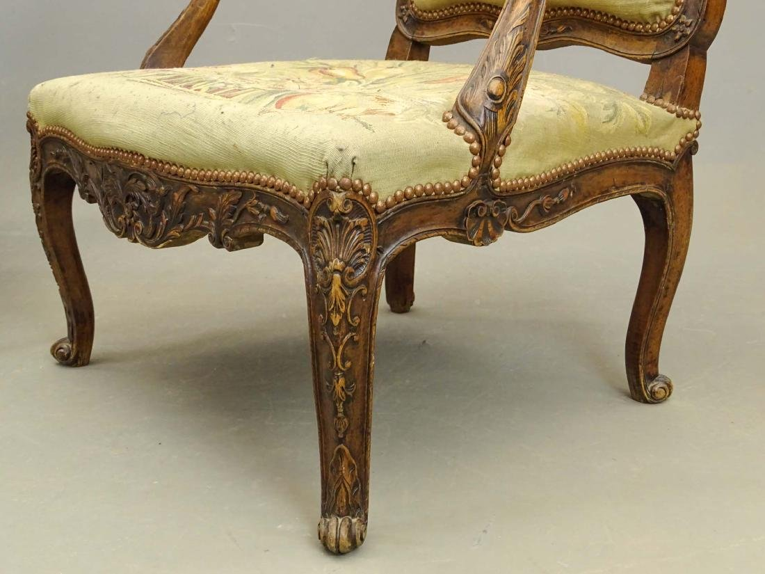 Pair French Needlepoint Chairs - 6