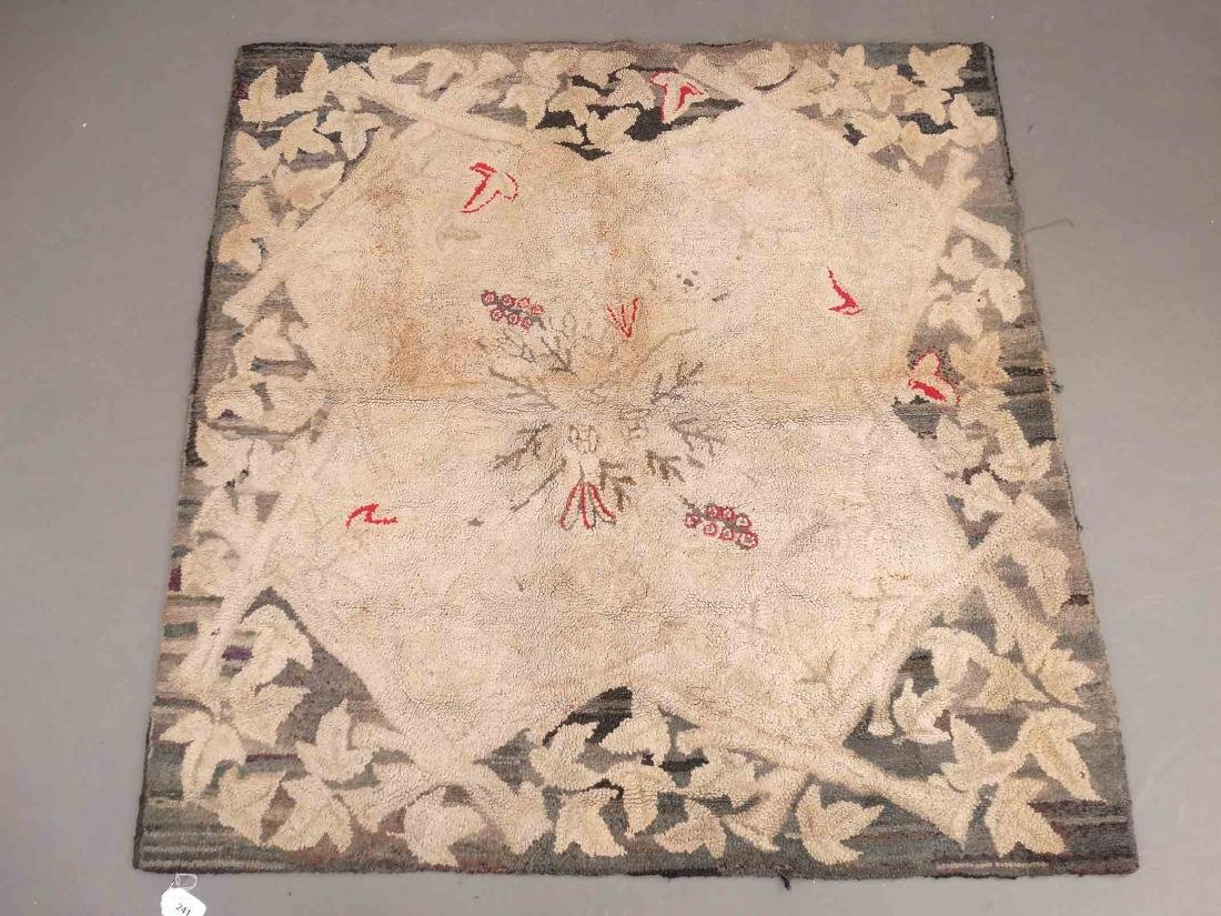 19th c. Hooked Rug