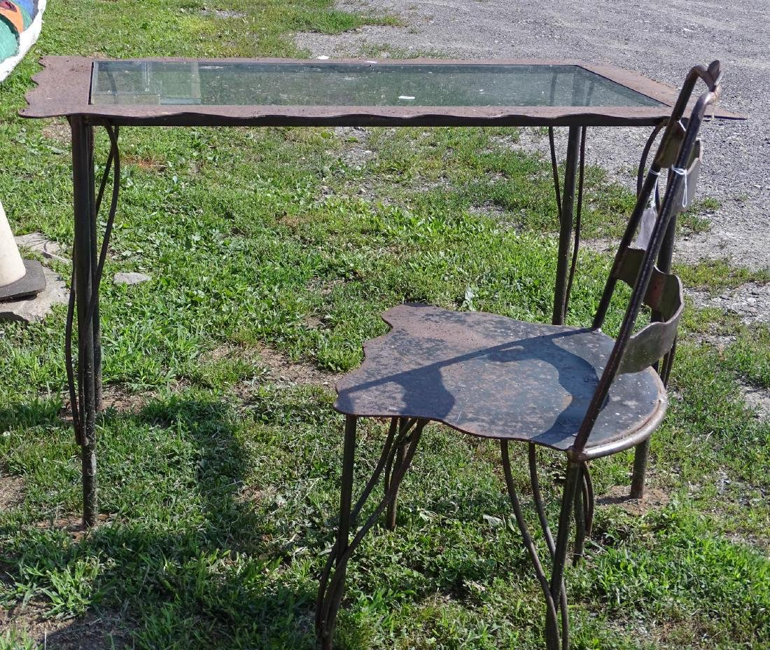 Wrought Iron And Glass Top Table - 2