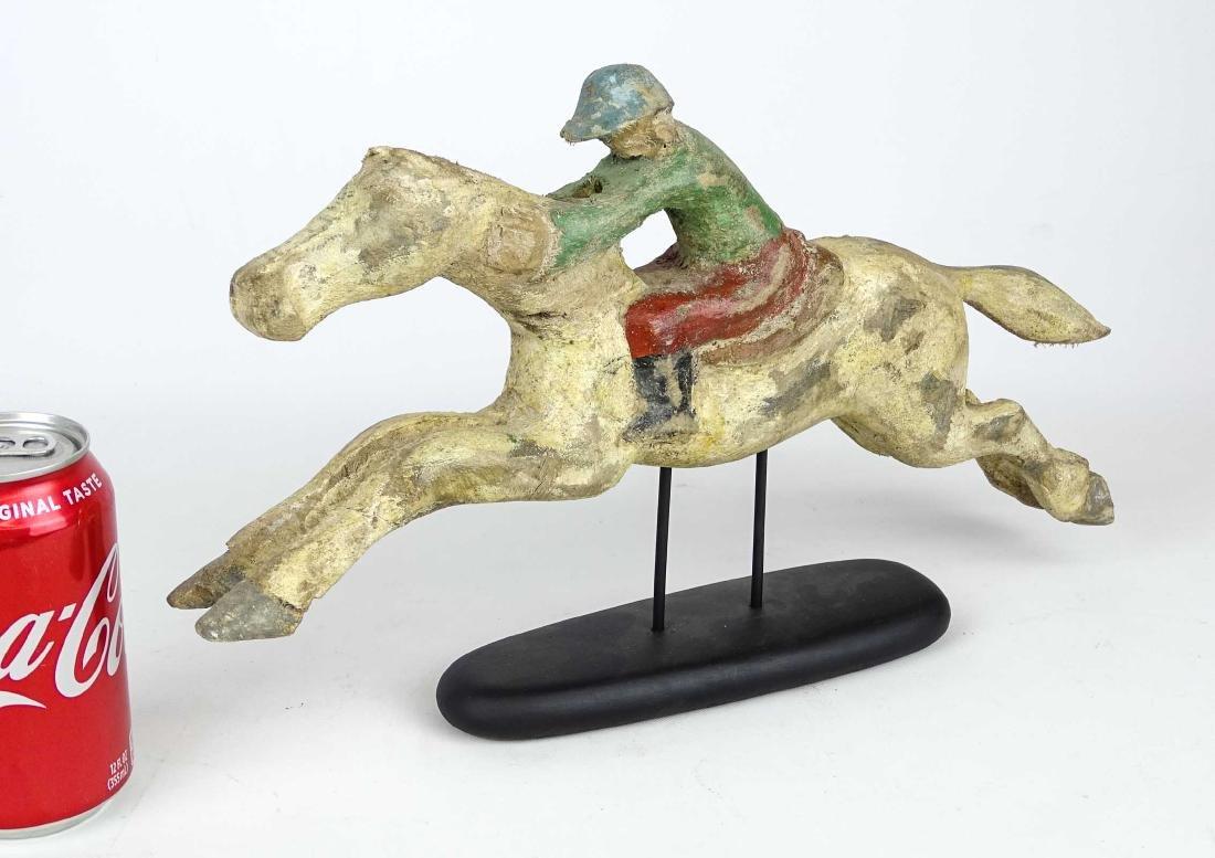 Folk Art Horse And Jockey Arcade Figure