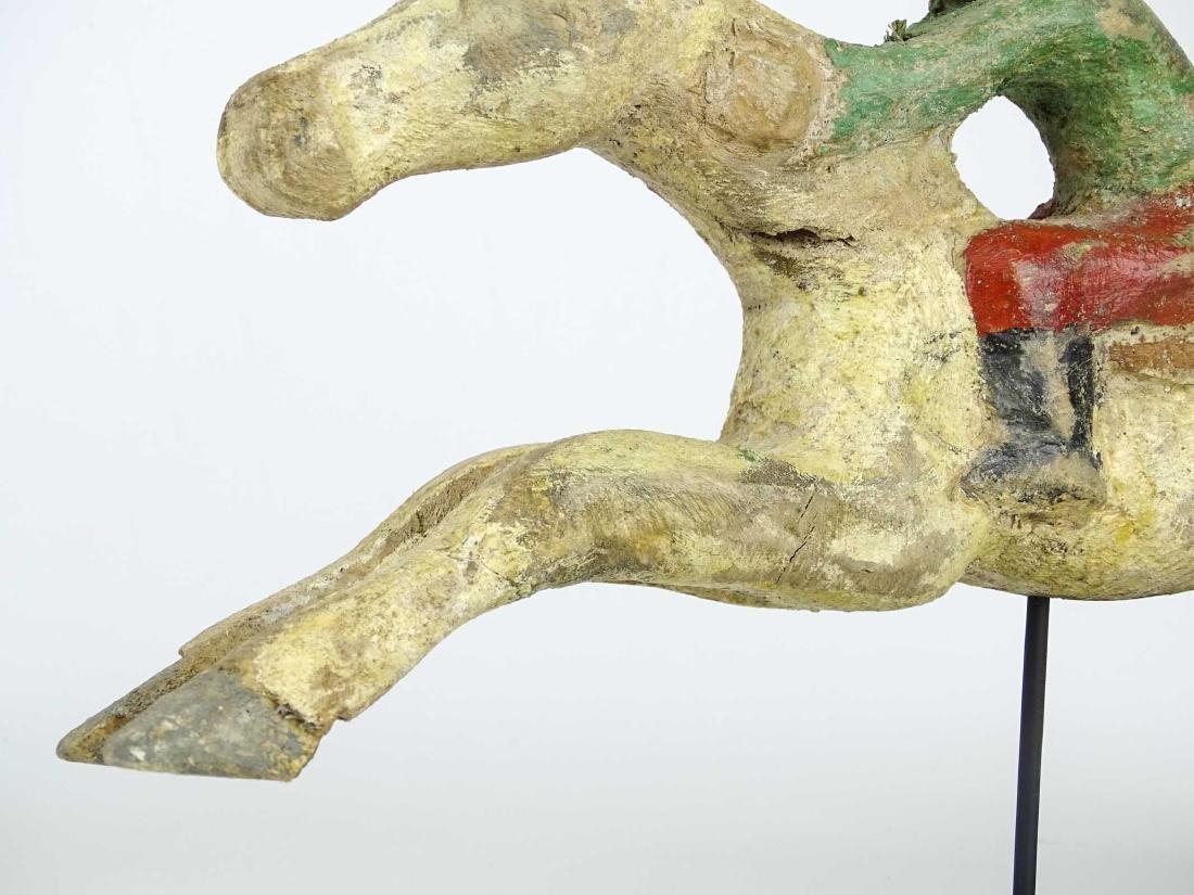 Folk Art Horse And Jockey Arcade Figure - 3