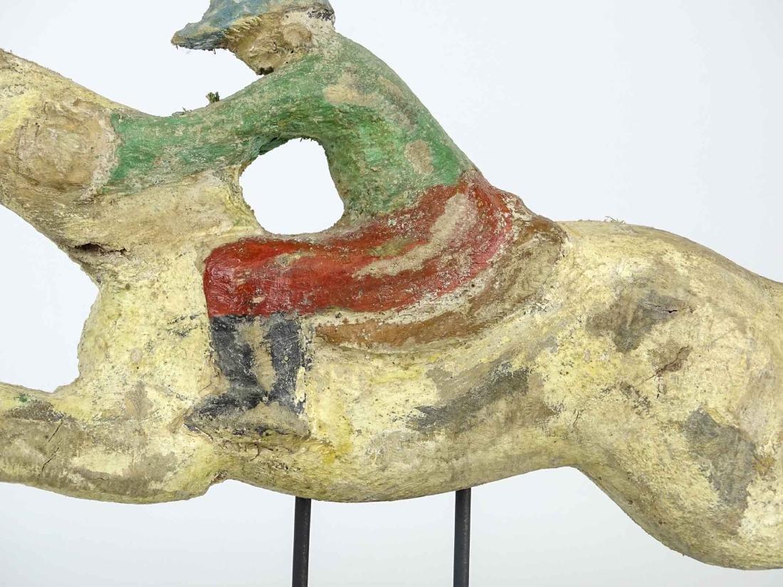 Folk Art Horse And Jockey Arcade Figure - 4