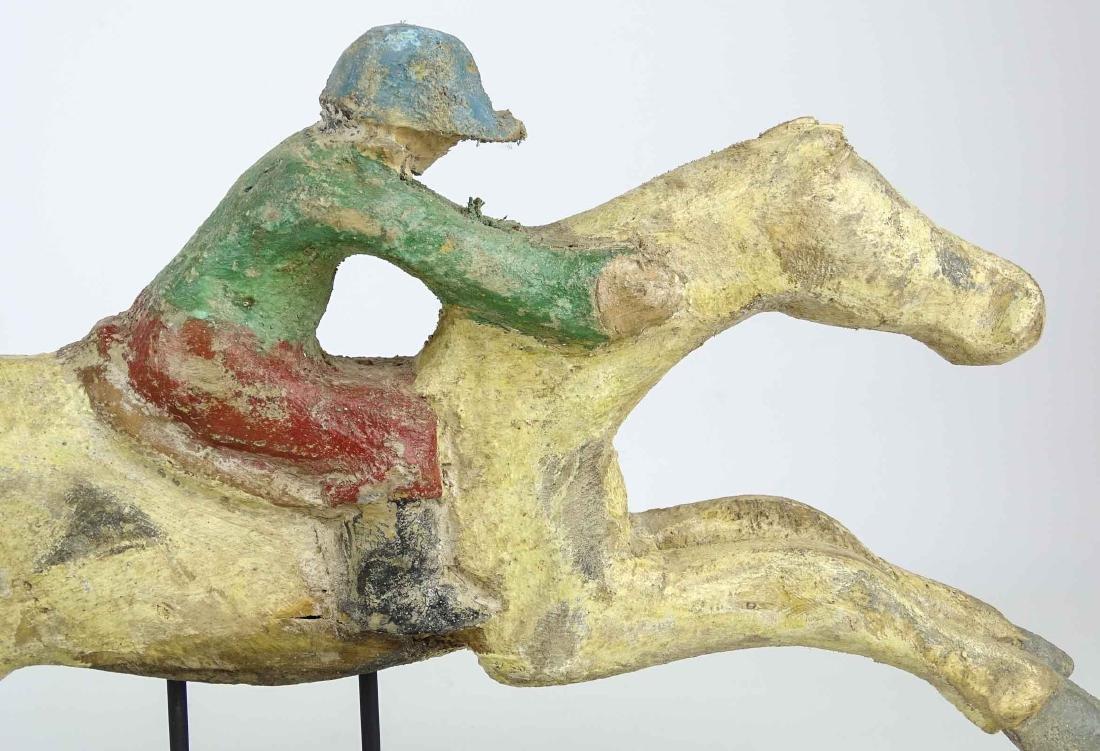 Folk Art Horse And Jockey Arcade Figure - 7