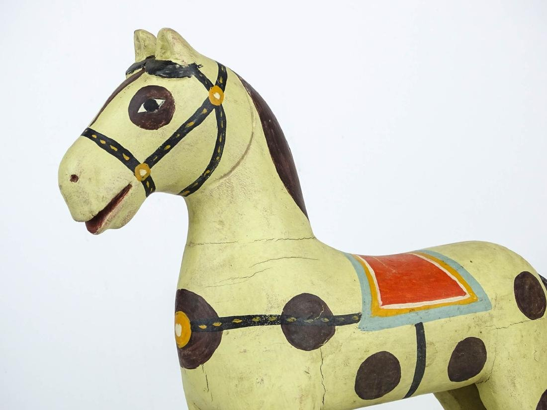 Folk Art Painted Wooden Horse - 2