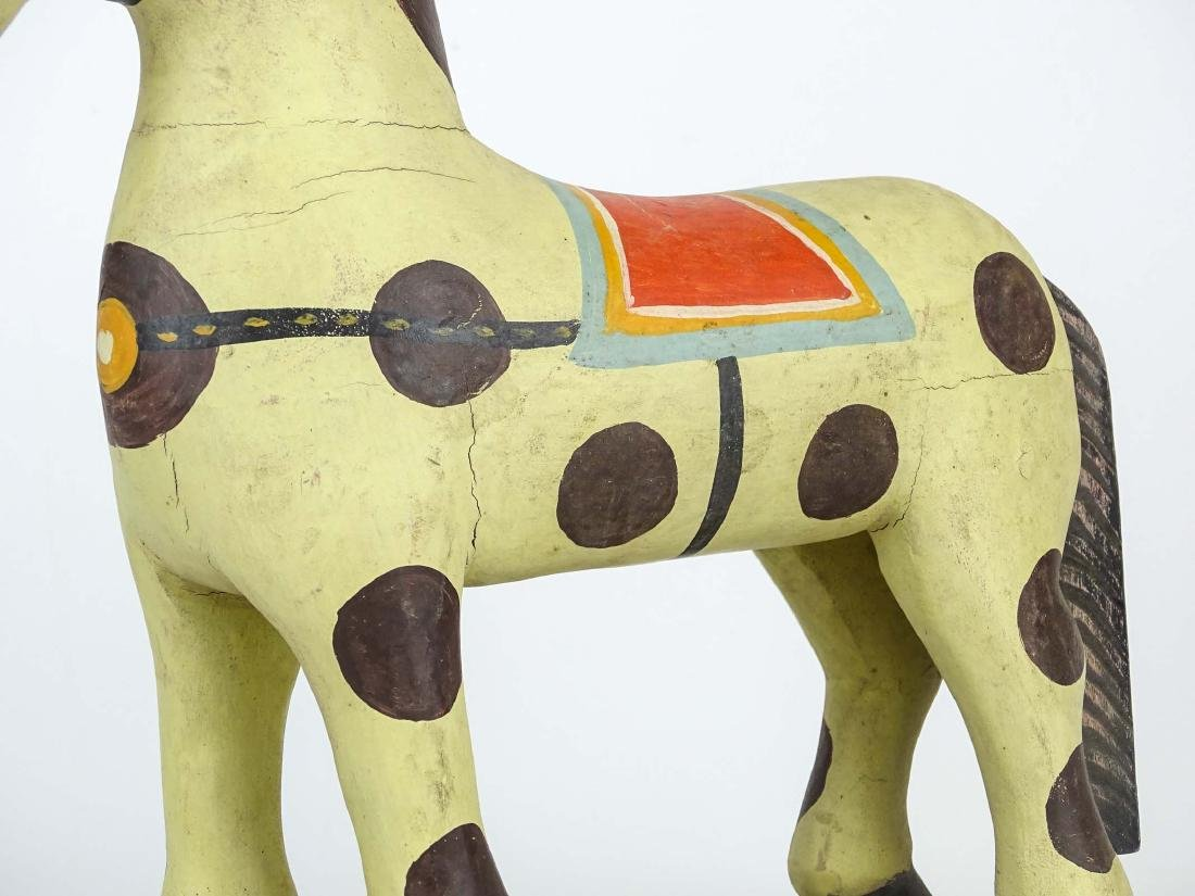 Folk Art Painted Wooden Horse - 3