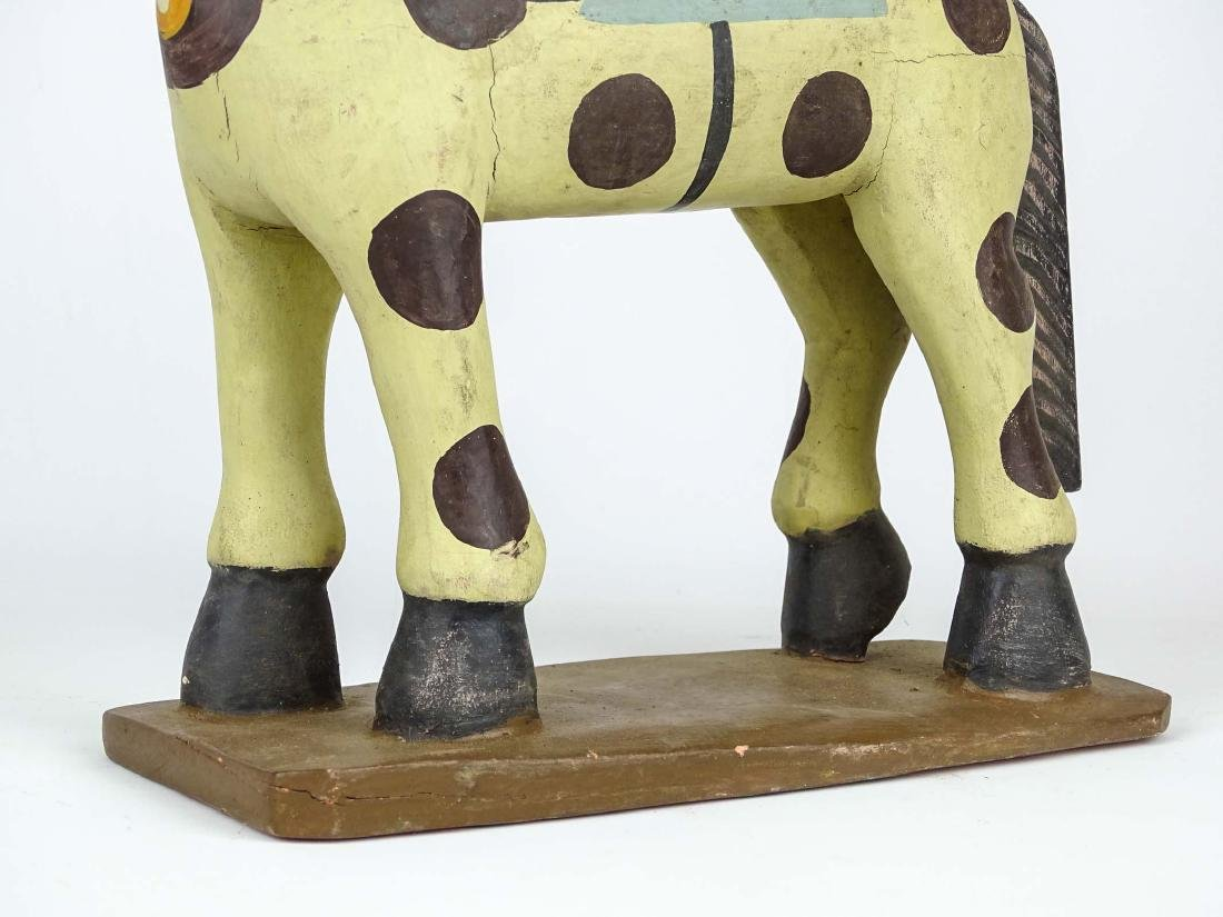Folk Art Painted Wooden Horse - 4
