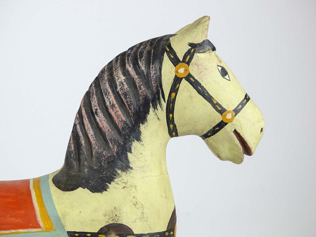 Folk Art Painted Wooden Horse - 7