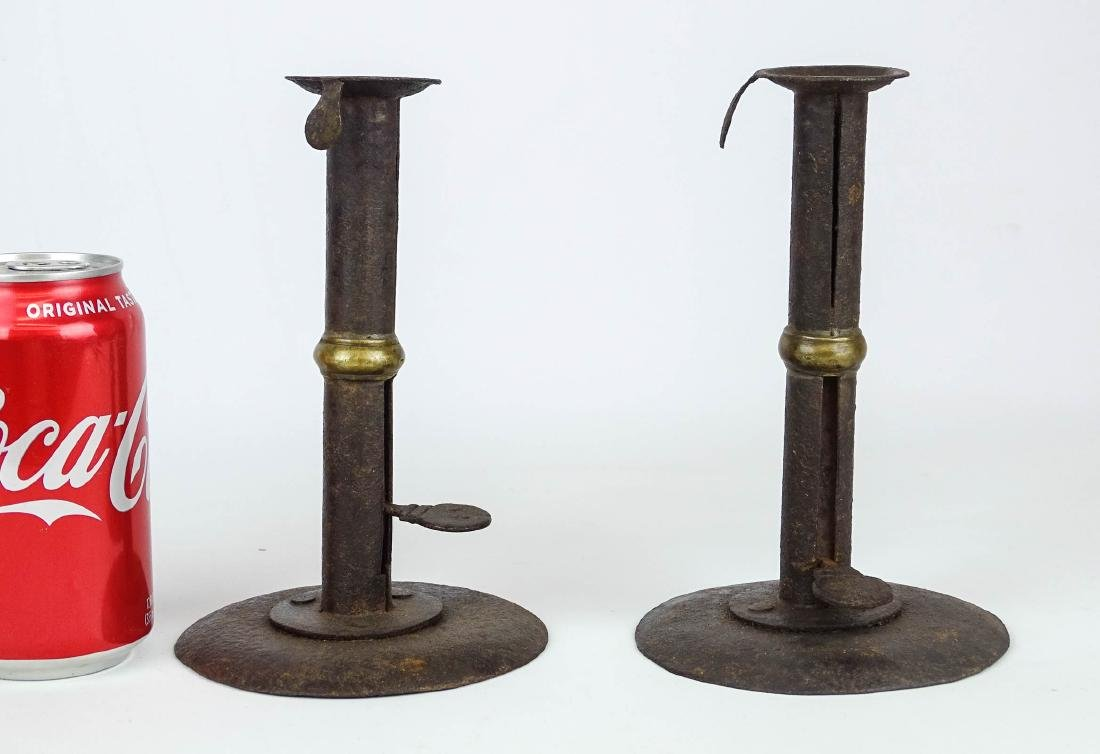 Pair Tin Hogscraper Candlesticks