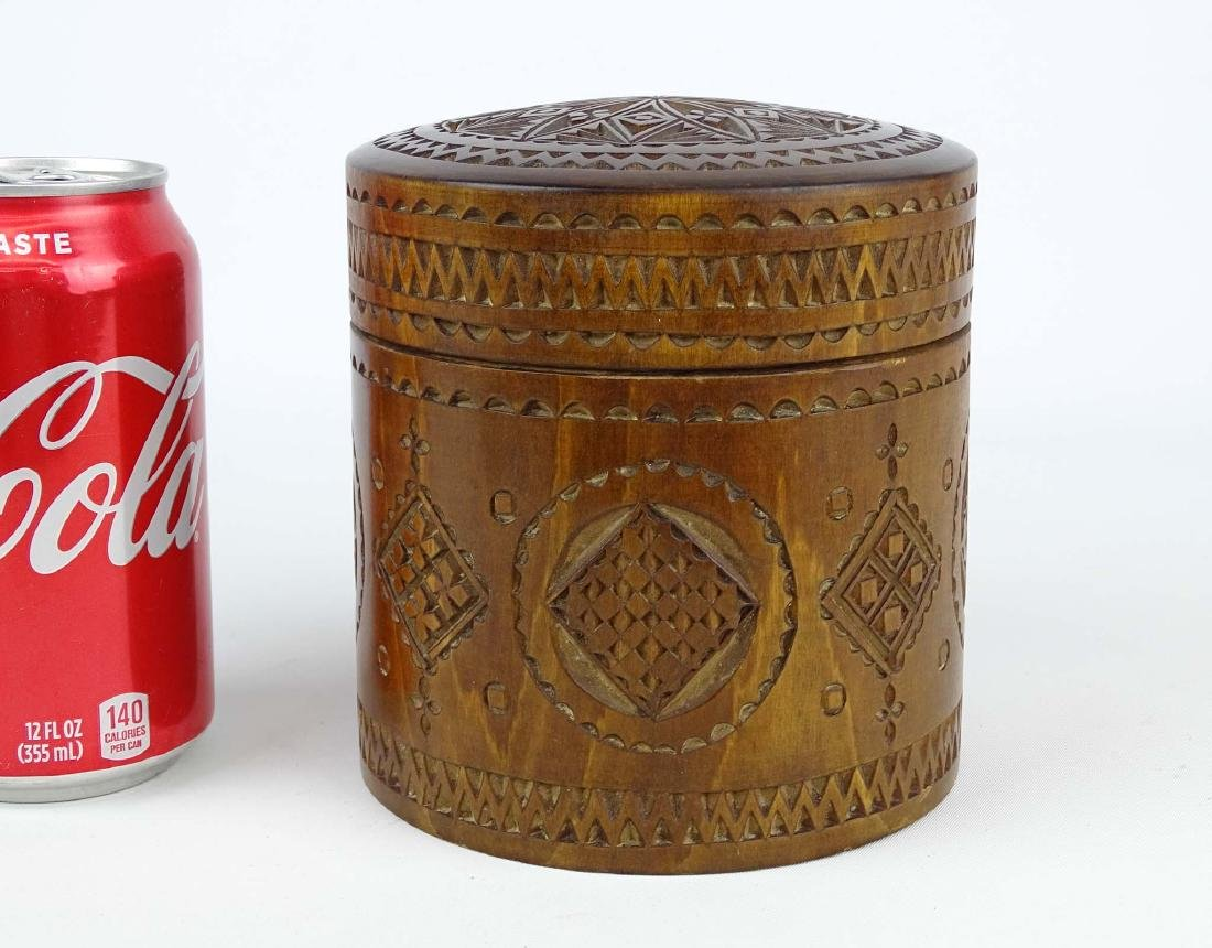 19th c. Carved Wooden Container