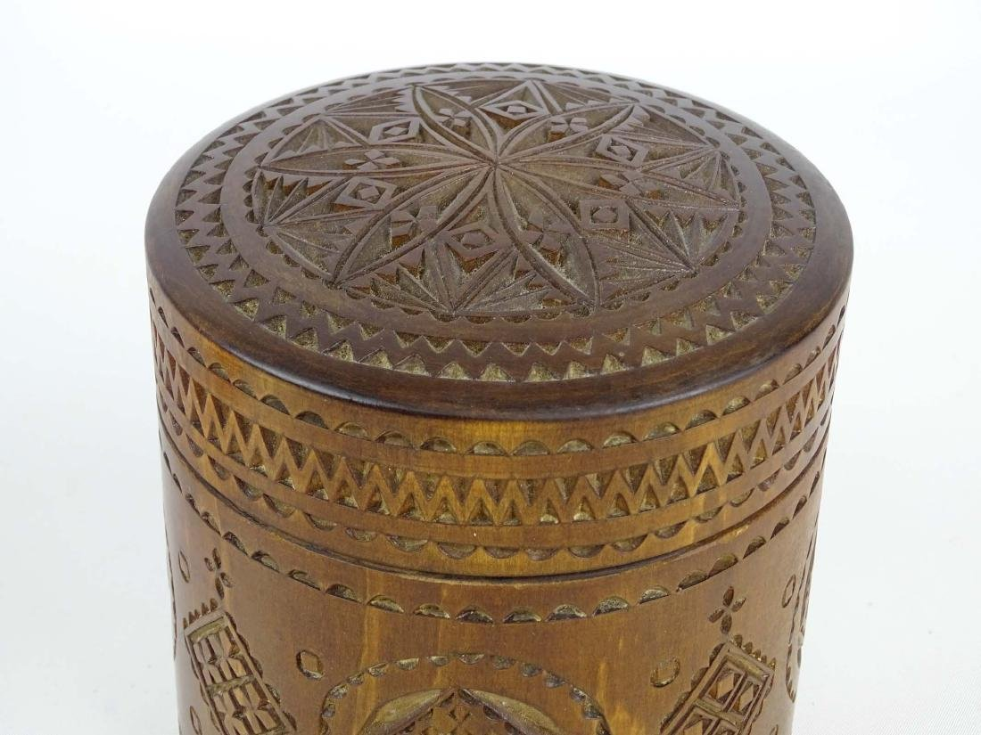 19th c. Carved Wooden Container - 2