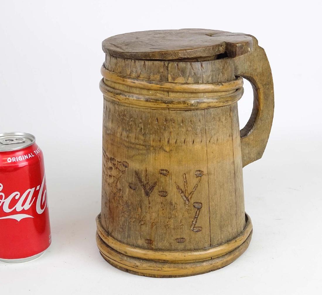 19th c. Wooden Tankard