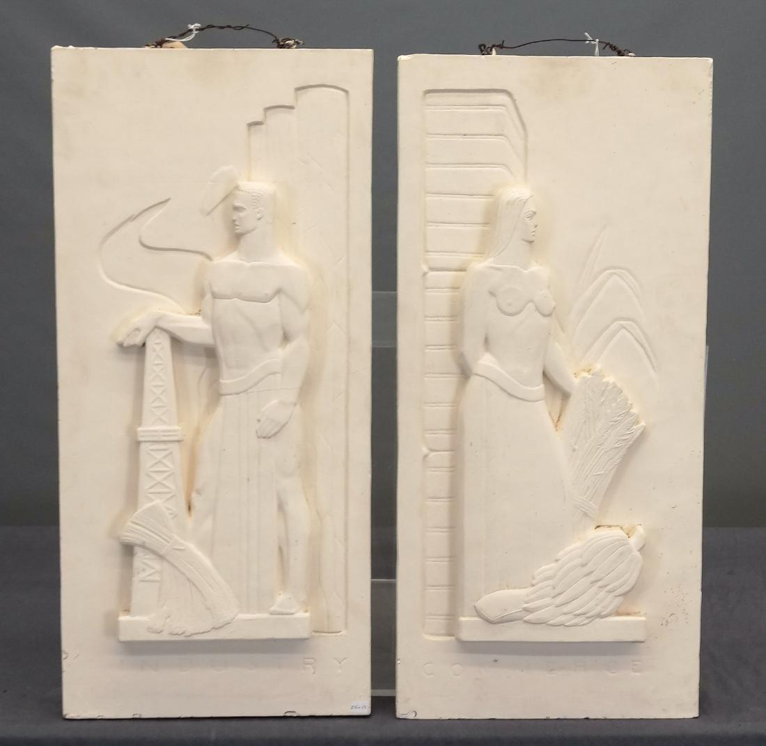 Pair Art Deco Plaster Plaques