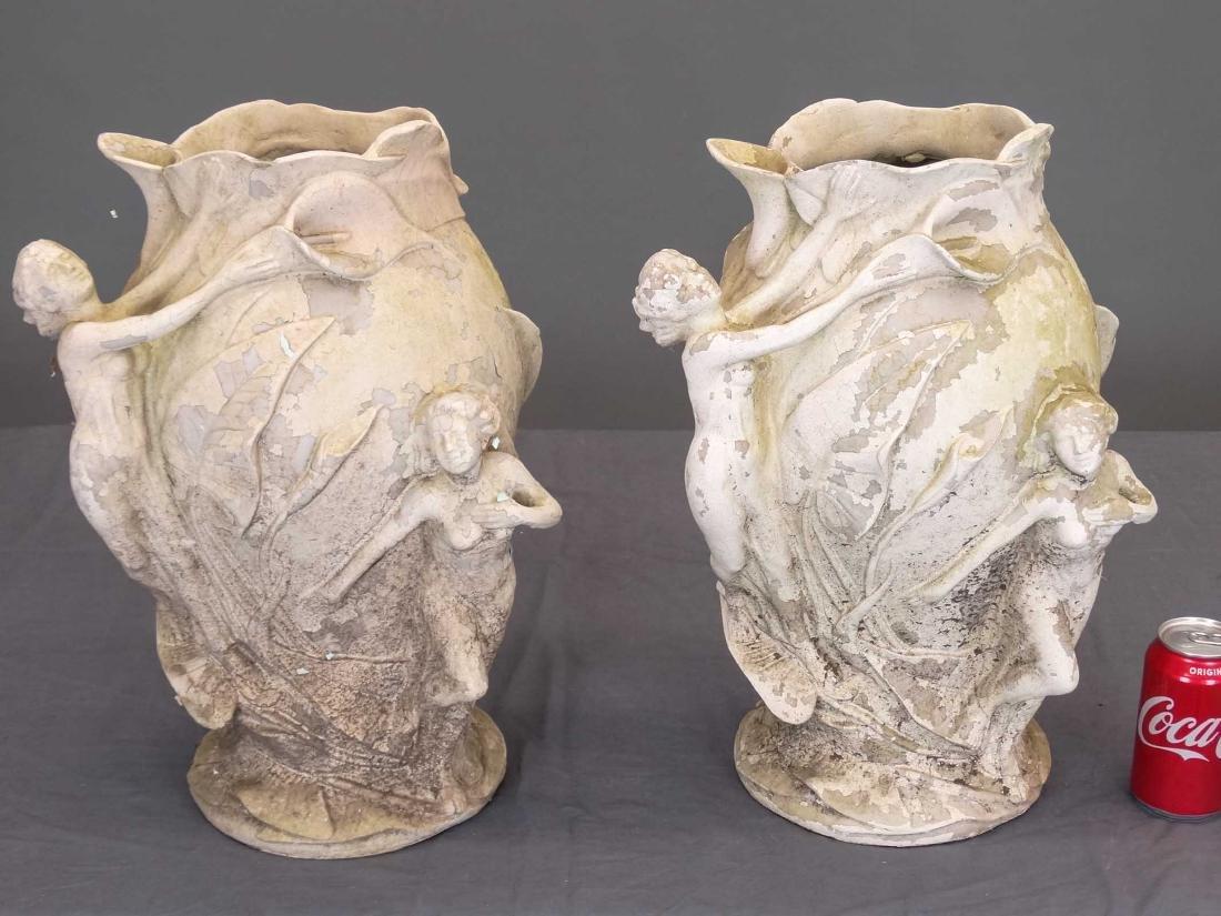Pair Composition Art Nouveau Style Vases