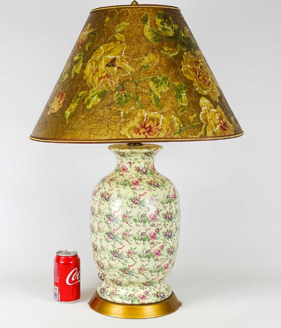 English Chintz Porcelain Lamp