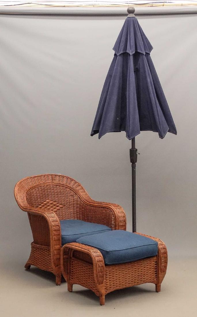 Crate & Barrel Umbrella, Chair & Ottoman