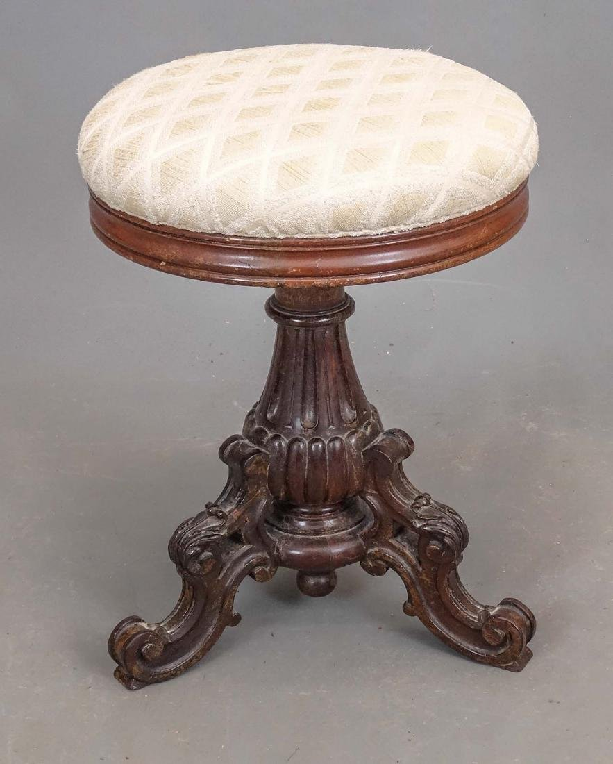 19th c. Carved Piano Stool