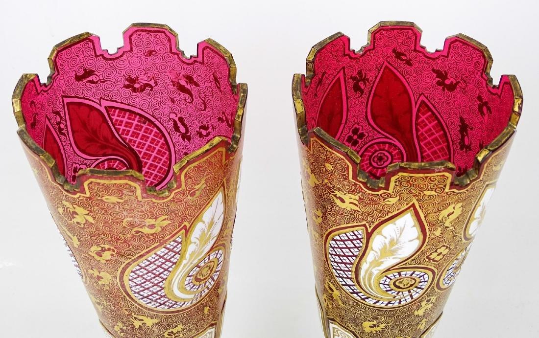 Pair Cranberry Vases - 3