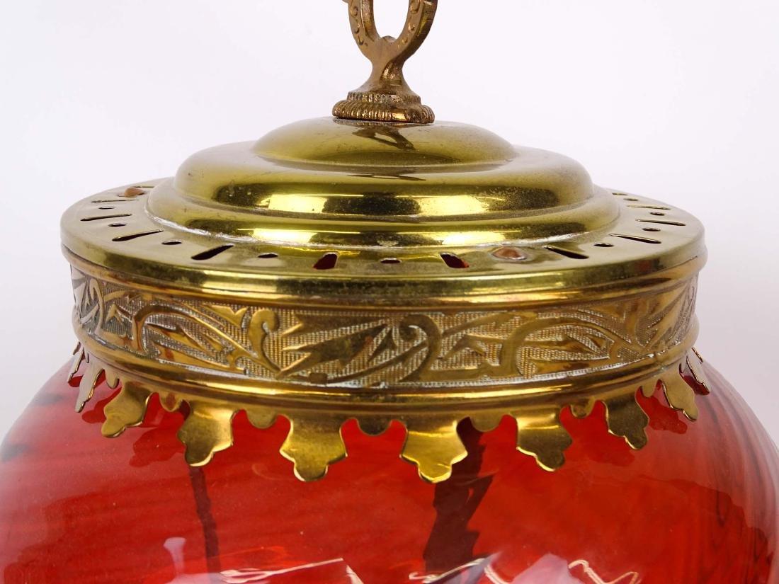 Cranberry Glass Lamp - 2