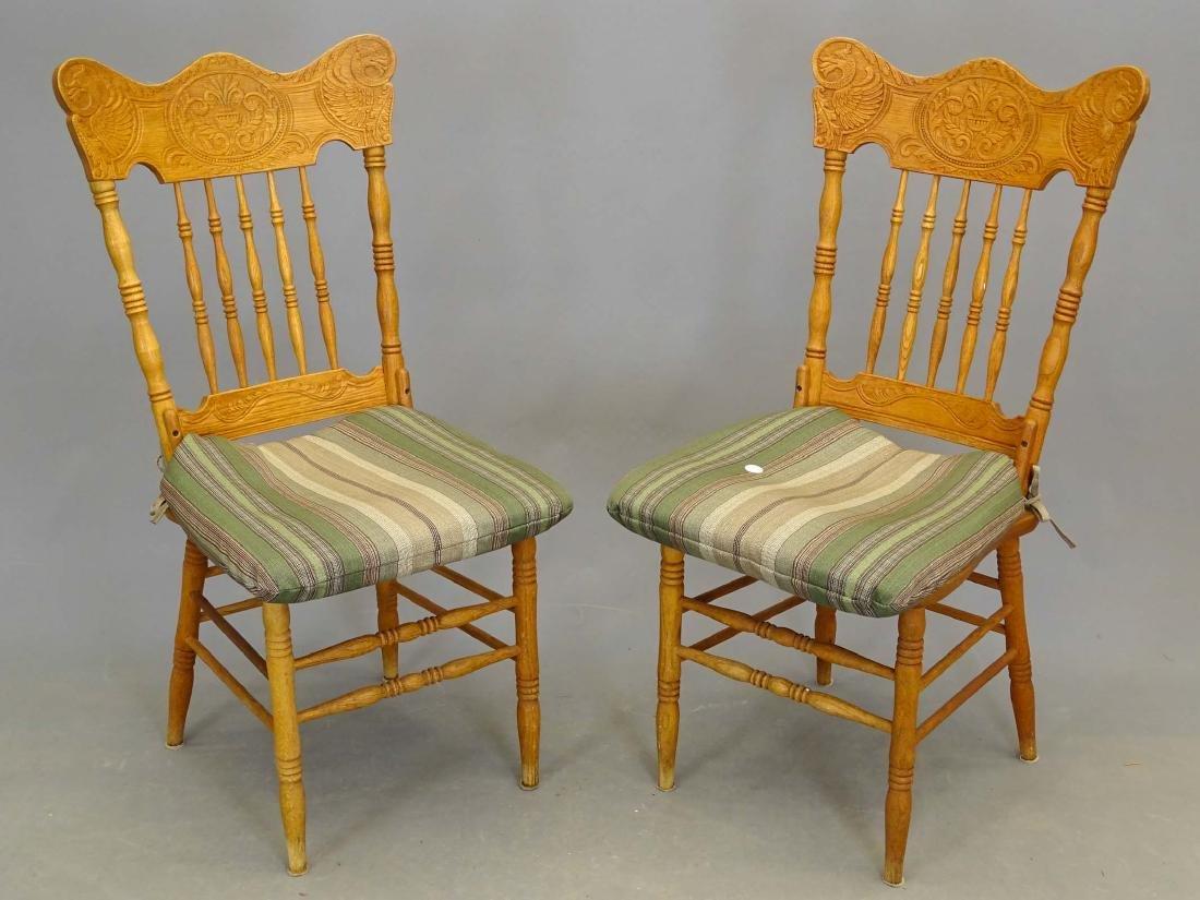 Pair Oak Chairs
