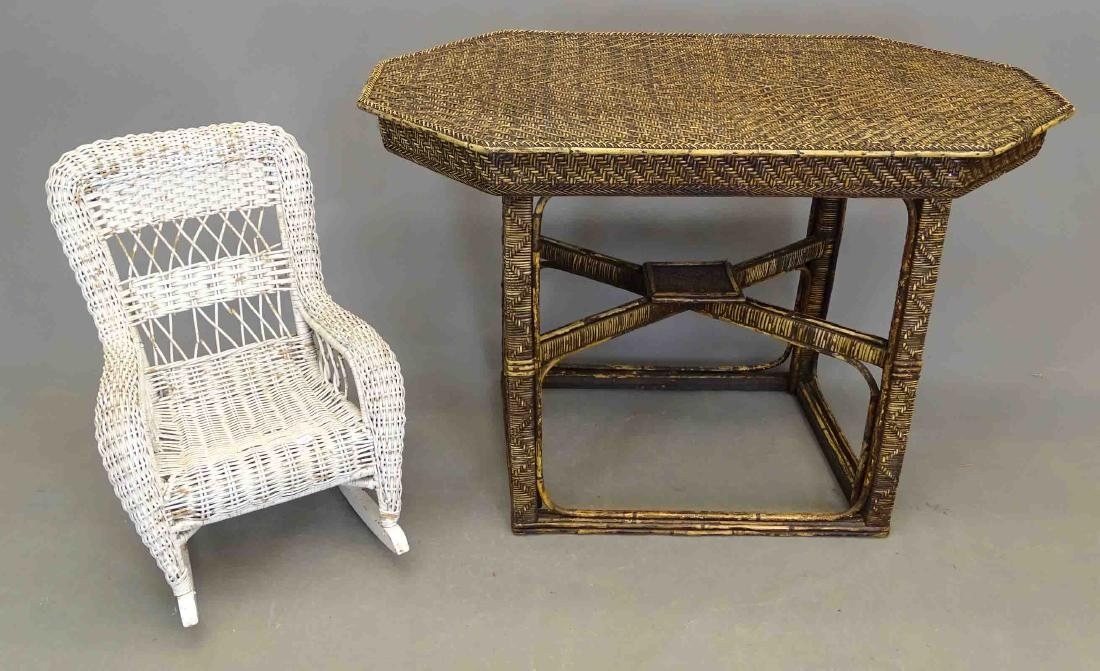 Wicker Table & Child's Chair