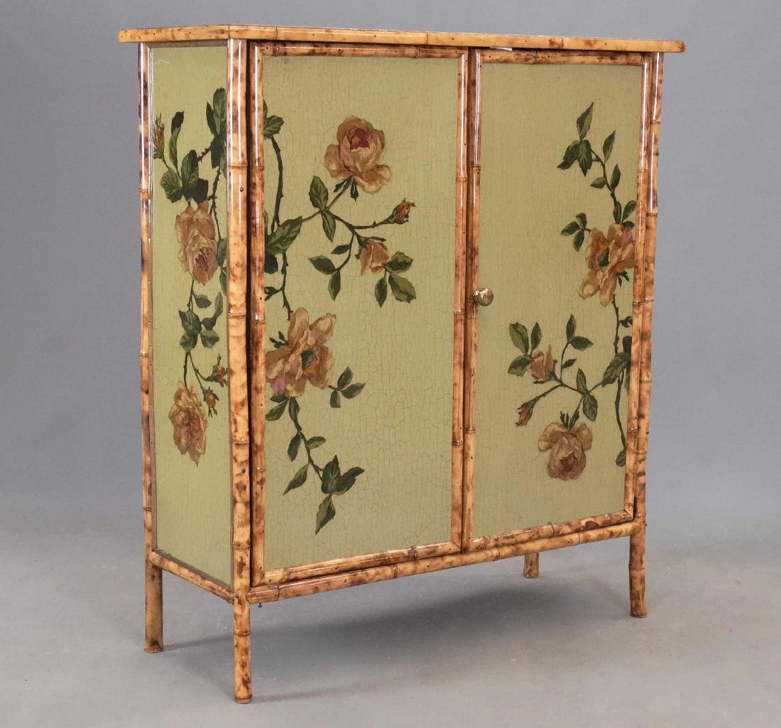 Paint Decorated Bamboo Cabinet