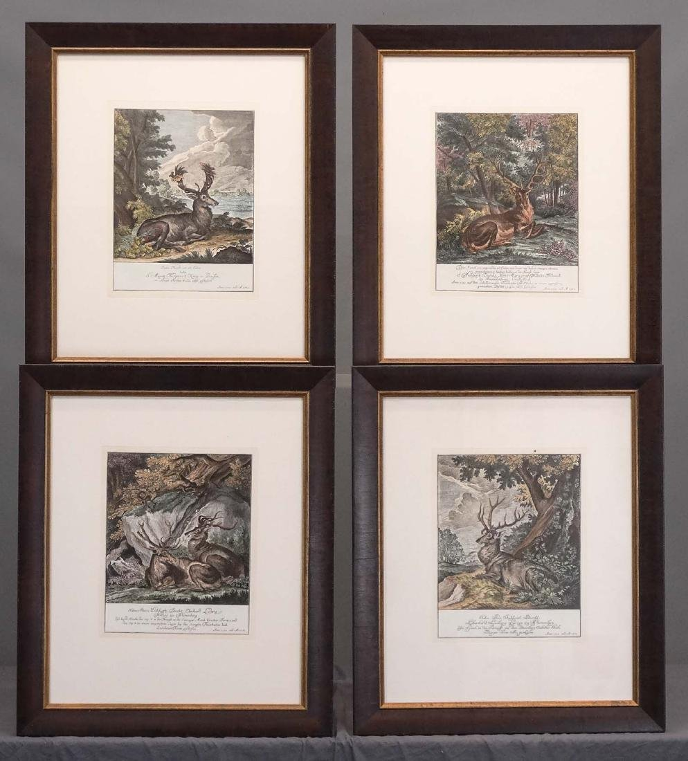 Johann Elias Ridinger, Four Etchings Of Stags