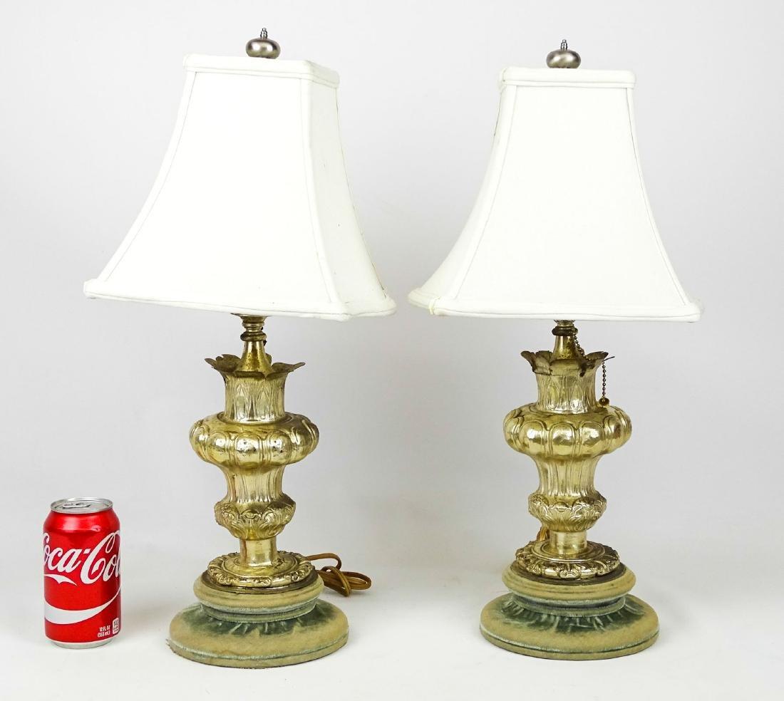 Pair Silvertone Metal Decorative Lamps
