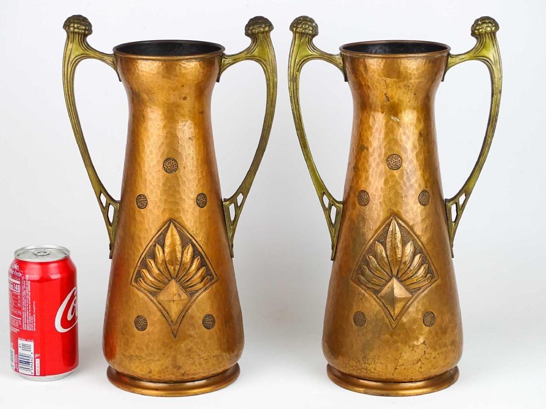 Pair WMF Arts & Crafts Copper Vases