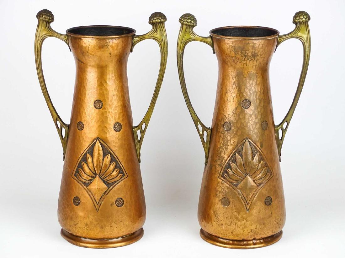Pair WMF Arts & Crafts Copper Vases - 2