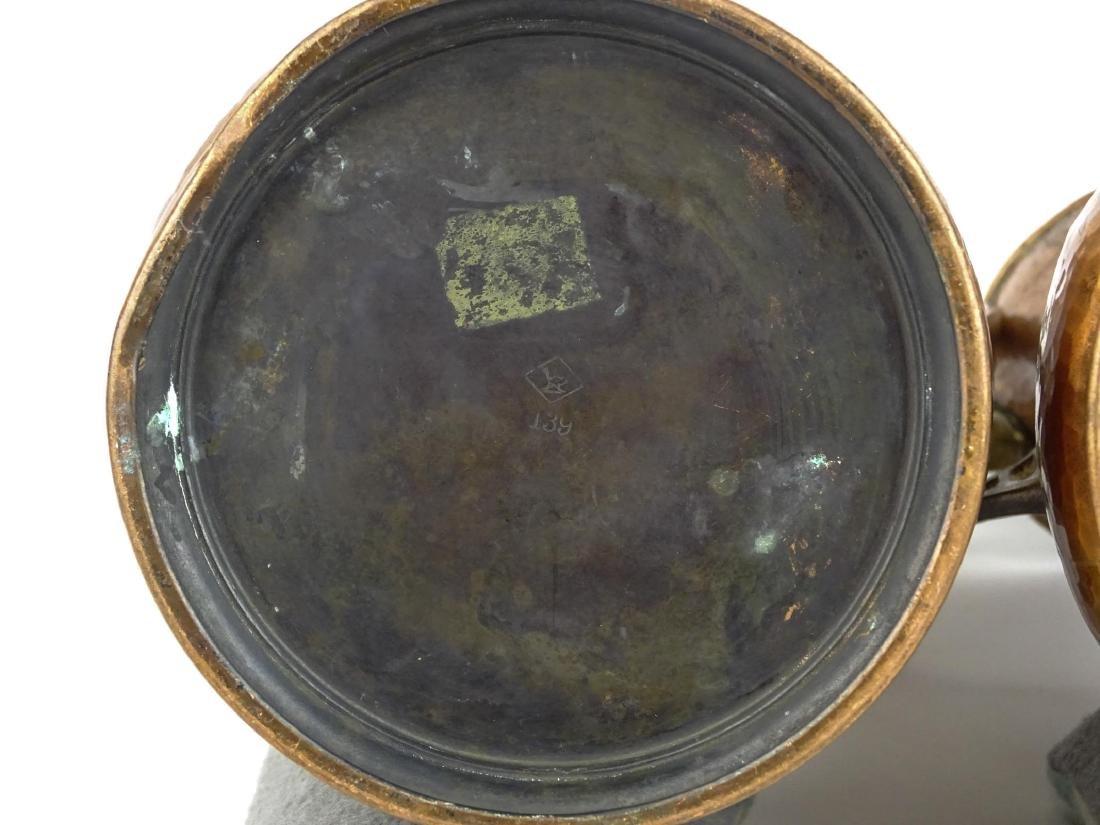 Pair WMF Arts & Crafts Copper Vases - 3