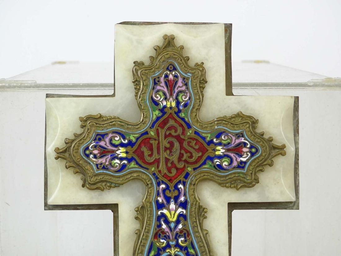 Early Enameled Marble Cross - 2