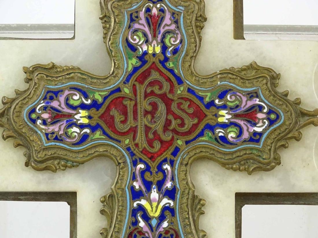 Early Enameled Marble Cross - 4
