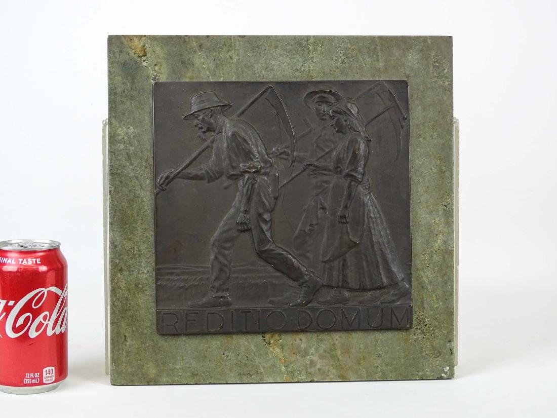 """Early Marble And Bronze Plaque """"REDITIO DOMUM"""""""
