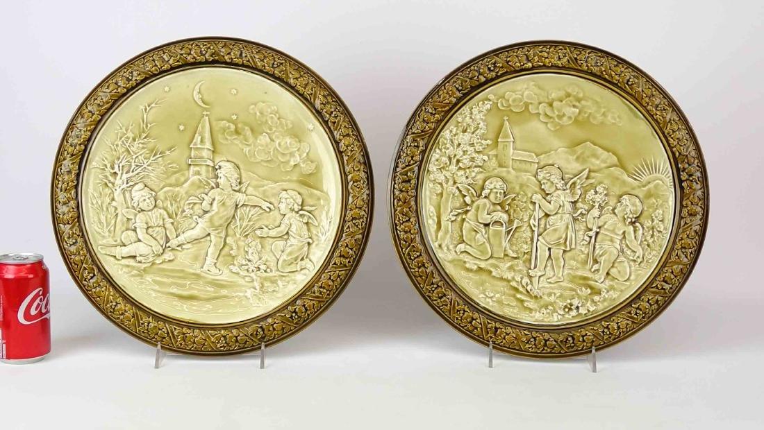 Pair German Porcelain Plaques