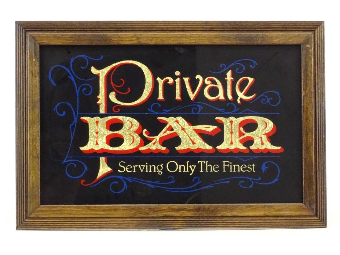 Reverse Painted Bar Sign