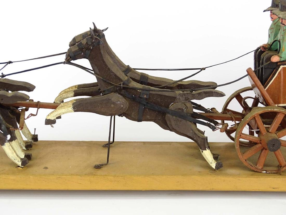 Folk Art Western Horse & Carriage Model - 10
