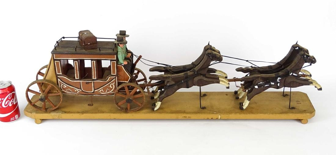 Folk Art Western Horse & Carriage Model