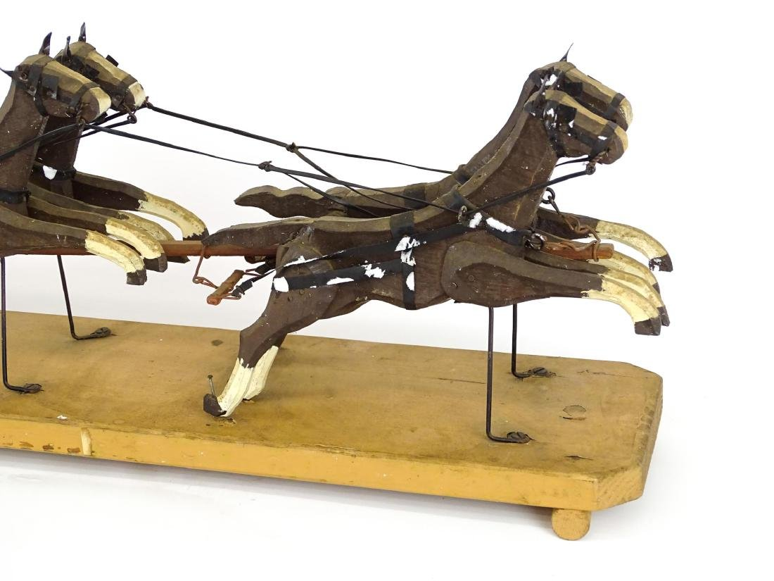 Folk Art Western Horse & Carriage Model - 2