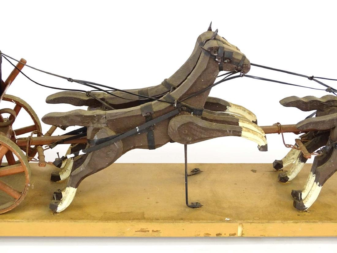 Folk Art Western Horse & Carriage Model - 3