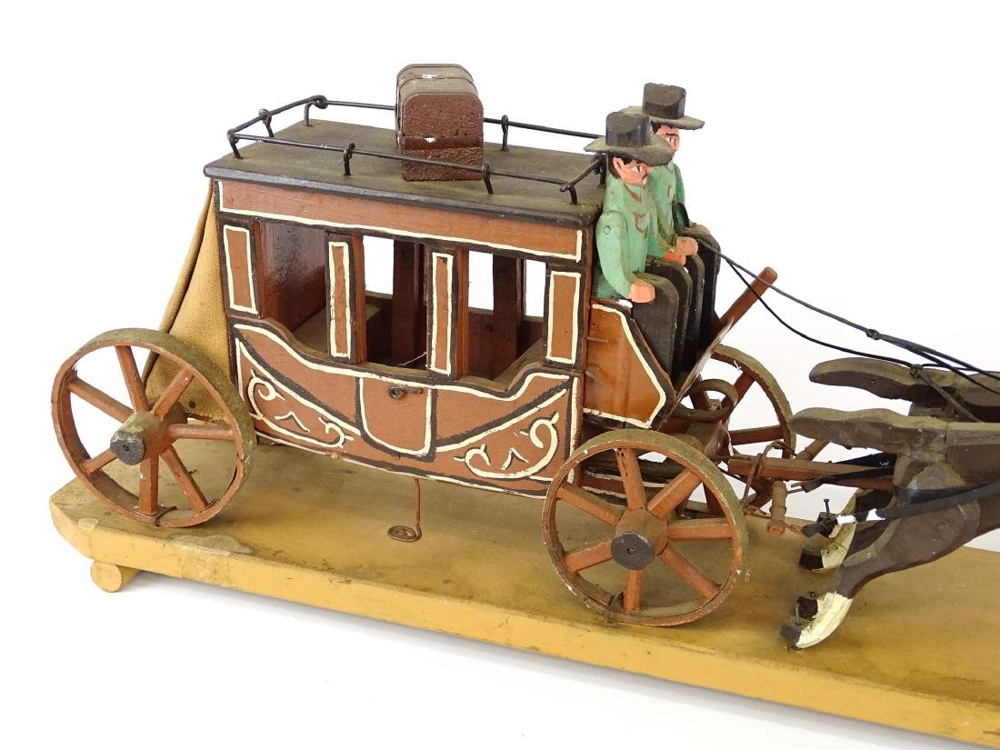 Folk Art Western Horse & Carriage Model - 4