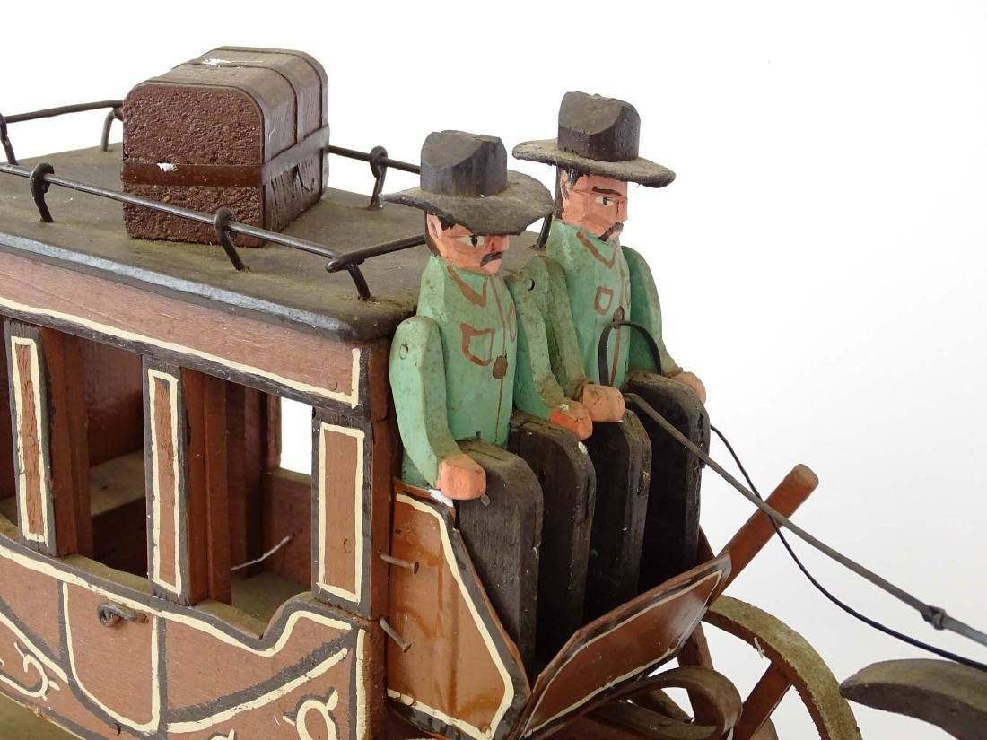 Folk Art Western Horse & Carriage Model - 6