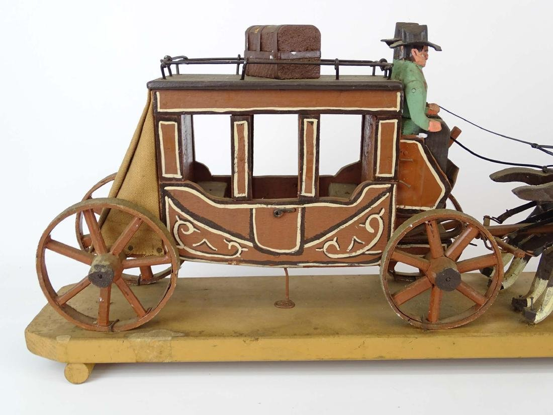 Folk Art Western Horse & Carriage Model - 7