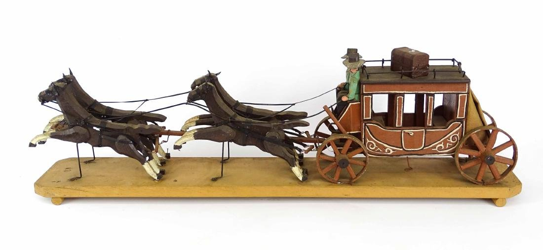 Folk Art Western Horse & Carriage Model - 8